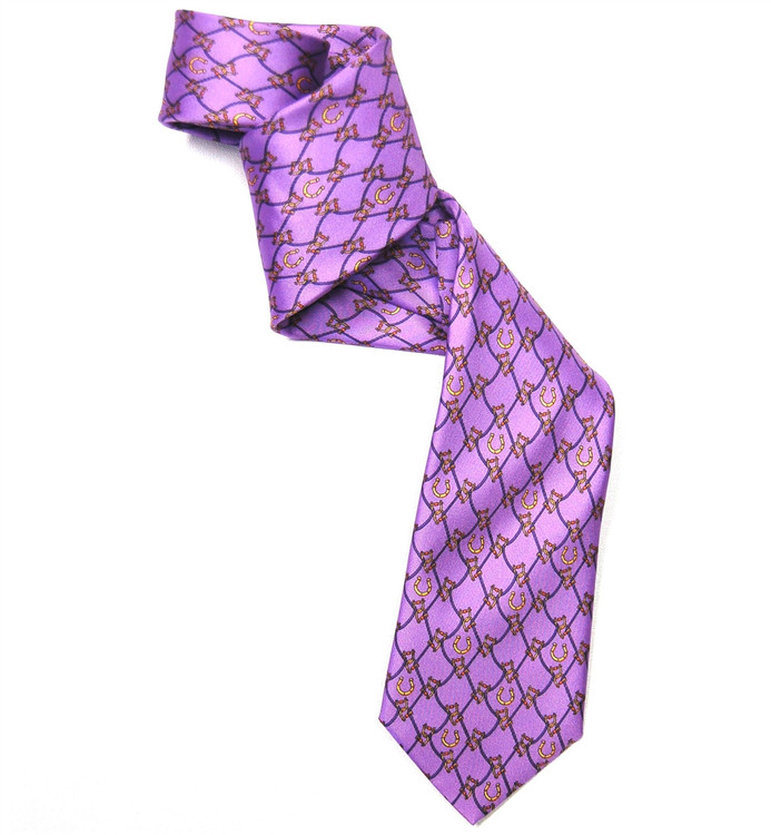 Lavender and Gold 'Bit and Brace' Silk Tie by Marchesi di Como