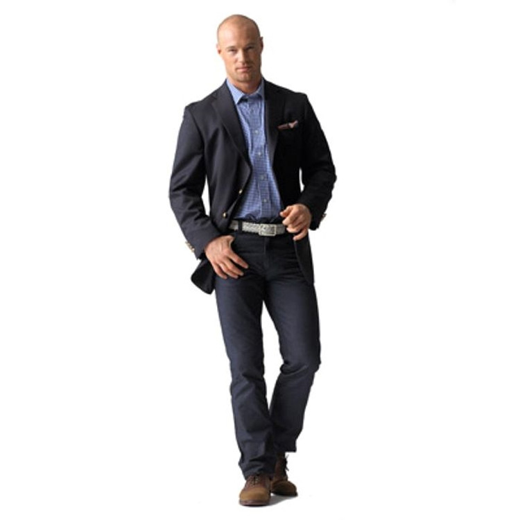 Super 120's Worsted Wool 2-Button Navy Elite Blazer by Corbin