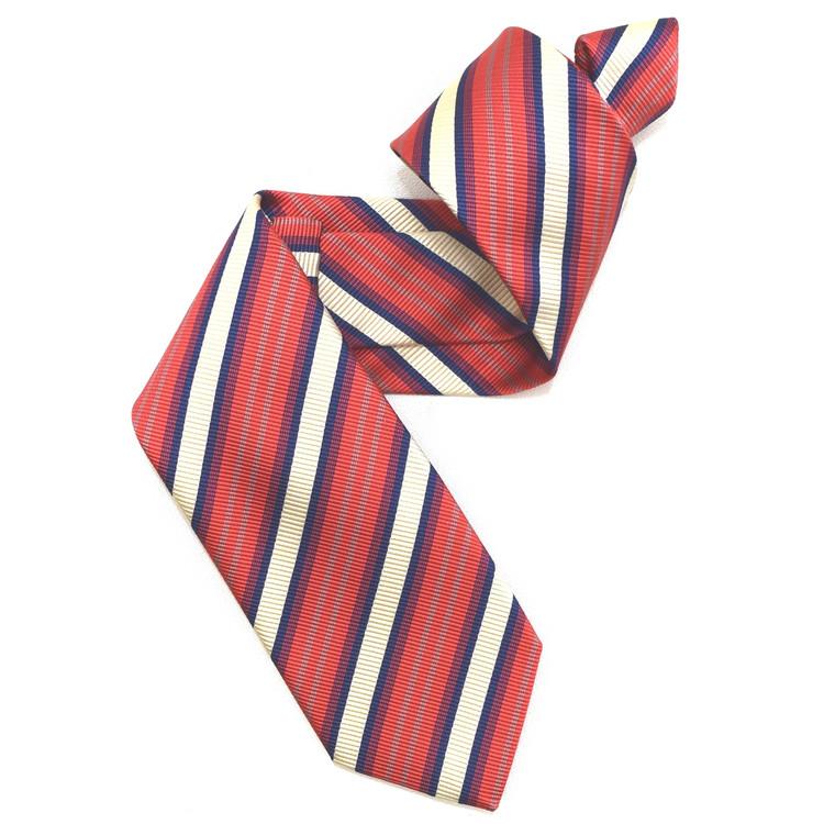 Cherry, Cream, and Navy Mogador Stripe Woven Silk Tie by Robert Jensen
