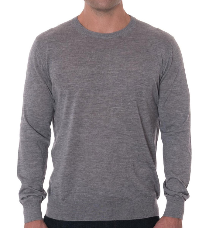 'Tolando' Cashmere Jersey Crew Sweater in Flannel (Size X-Large) by Robert Talbott