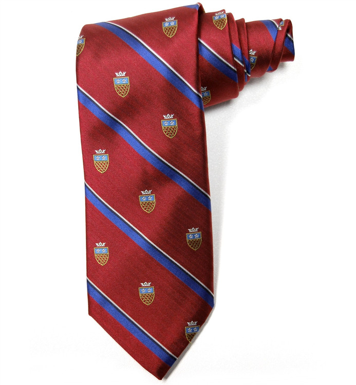 Red and Blue Herringbone Stripe 'English Club' Woven Silk Tie by Robert Talbott