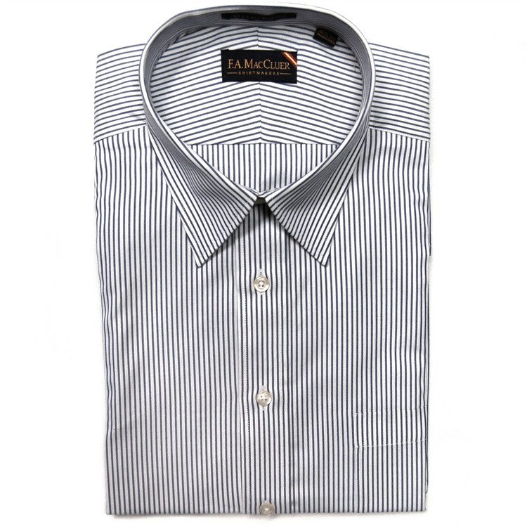 Navy and White 80's 2-Ply Pinpoint Stripe Dress Shirt by F.A. MacCluer