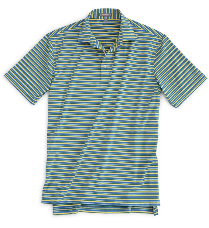Pitt Stripe E4 Stretch Jersey Polo with Sean Collar in Dutch Blue (Size XX-Large) by Peter Millar