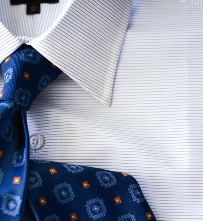 Blue Horizontal Pinstripe 'Made in Monterey' Dress Shirt by Robert Talbott