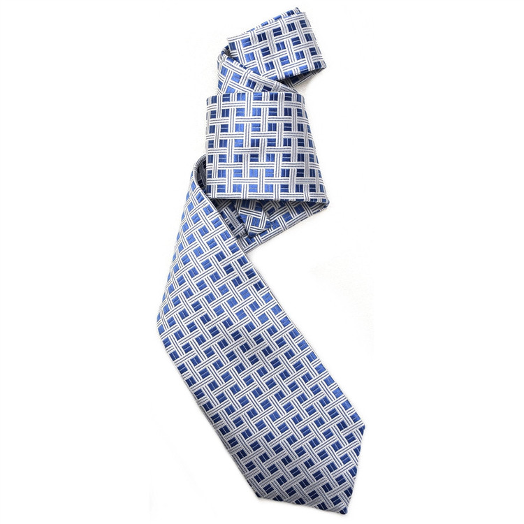 Blue and White Basketweave Woven Silk Tie by Robert Jensen