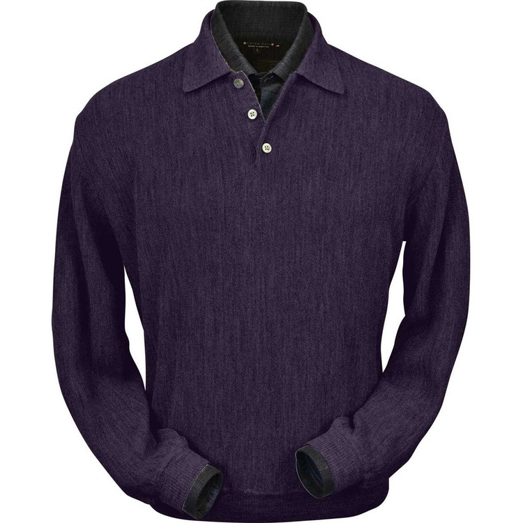 Baby Alpaca Link Stitch Polo Sweater with Ribbed Bottom in Plum Heather by Peru Unlimited