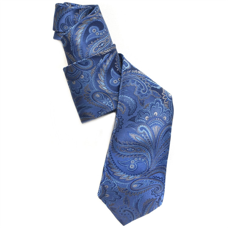 Blue and Grey Paisley 'Ambassador' Silk Estate Tie by Robert Talbott