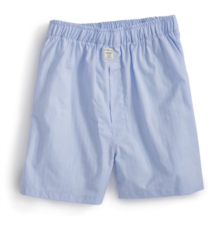 Herringbone Solid Cotton Boxer in Blue by Peter Millar