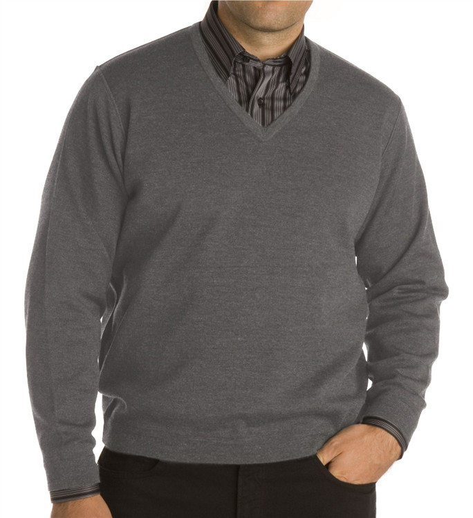 Classic Wool V-Neck Sweater in Dark Grey Marl by St. Croix