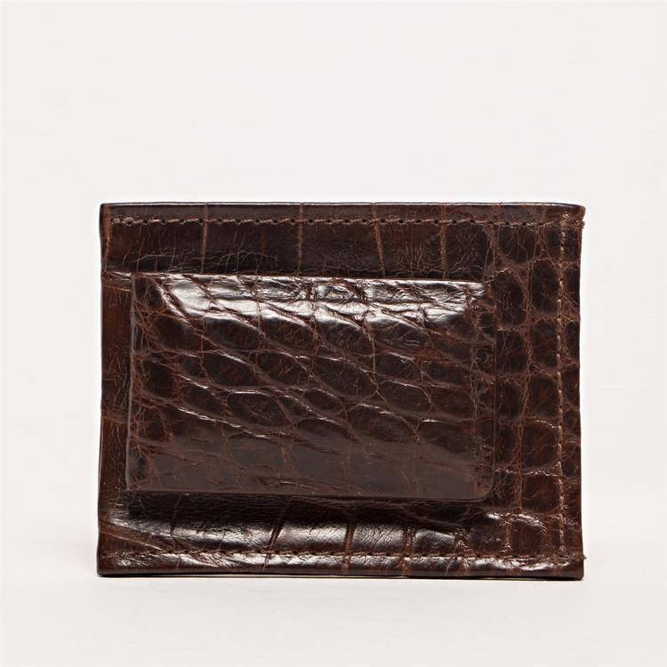 Magnetic Money Clip Wallet in Chocolate Alligator by Moore & Giles