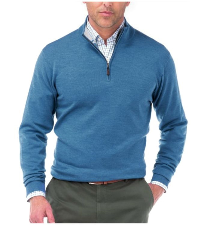 Merino Wool Quarter-Zip Sweater in Rapids by Peter Millar