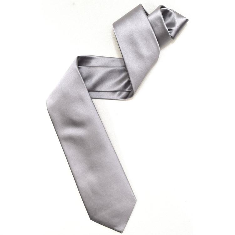 Super Satin Silk Tie in Silver by Robert Jensen