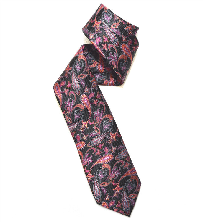 Black, Orange, and Raspberry Paisley Woven Silk Tie by Robert Jensen