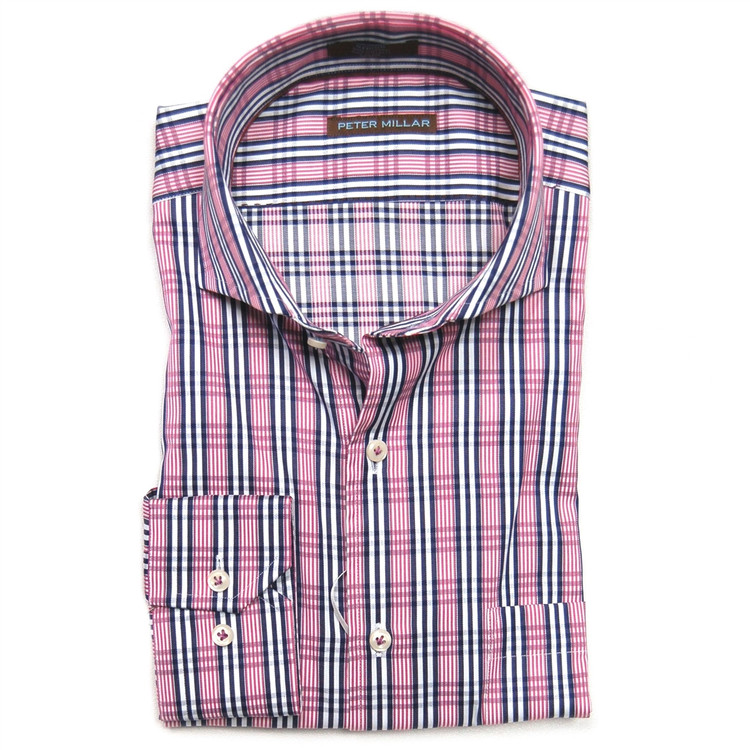Satin Tattersall Dress Shirt in Zinfandel (Size X-Large) by Peter Millar
