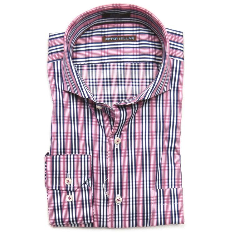 Satin Tattersall Dress Shirt in Zinfandel (Size X-Large) by Peter Millar