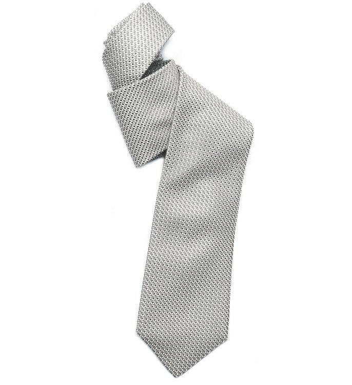 Best of Class Grey and Silver 'Super Grenadine' Woven Silk Tie by Robert Talbott