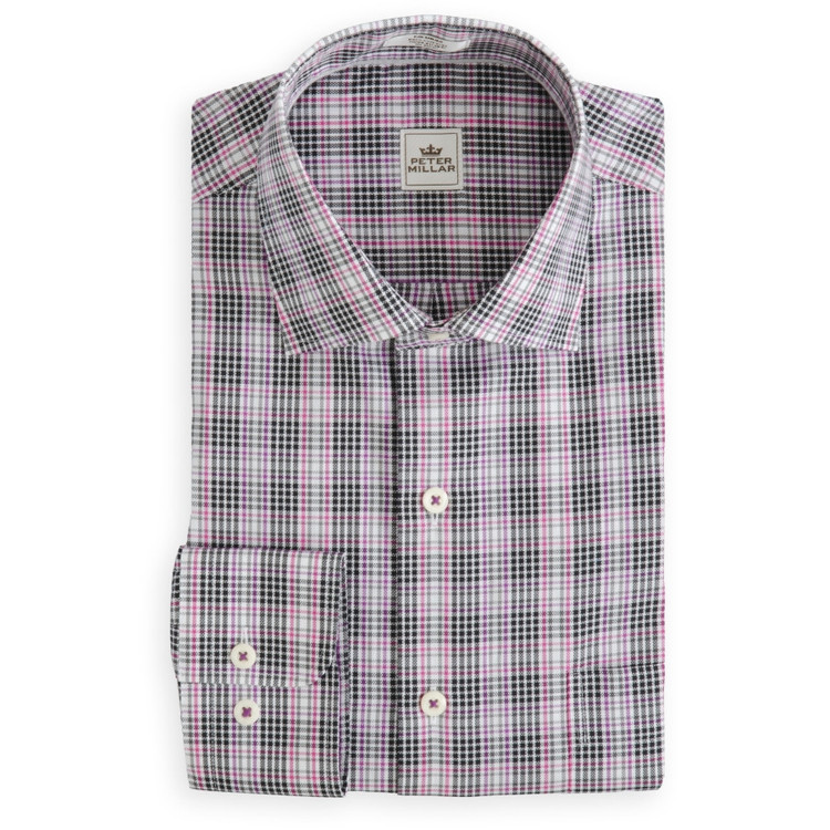 Nice Queens Oxford Sport Shirt in Black, Grey, and Pink (Size Medium) by Peter Millar