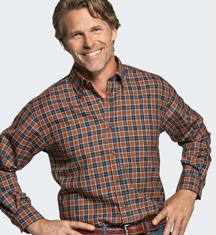 Brown and Blue Plaid Sir Pendleton Wool Shirt (Size X-Large) by Pendleton