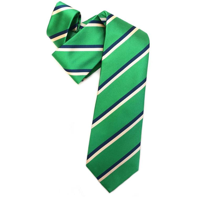 Green, Navy, and Cream Silk Faille Repp Tie by Robert Jensen