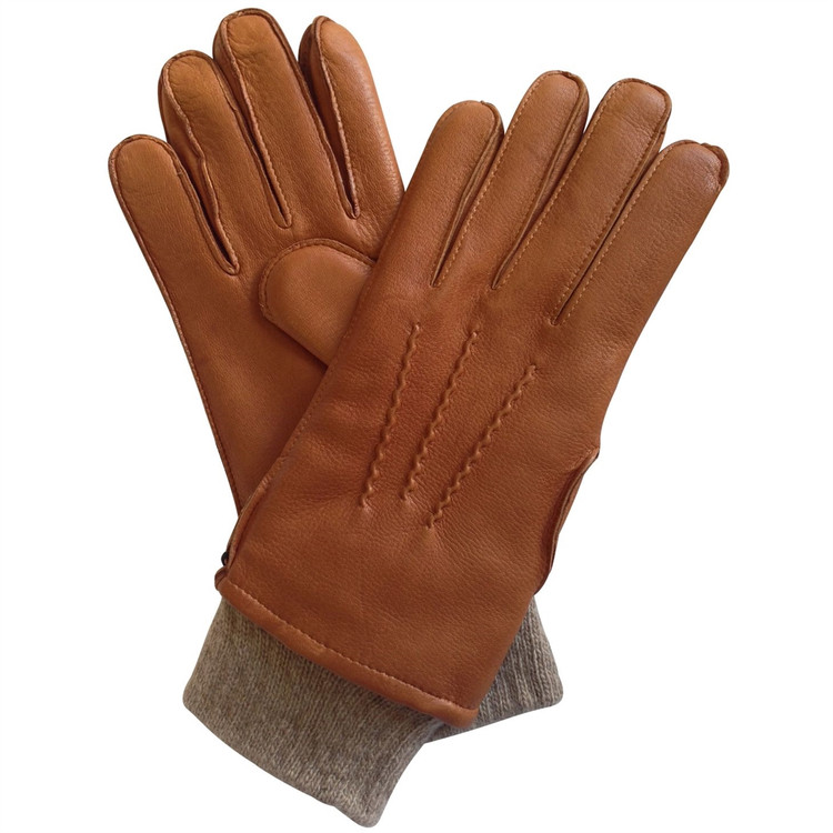 'Chester' Cognac Deerskin Glove with Cashmere Cuff and Lining by Hilts-Willard