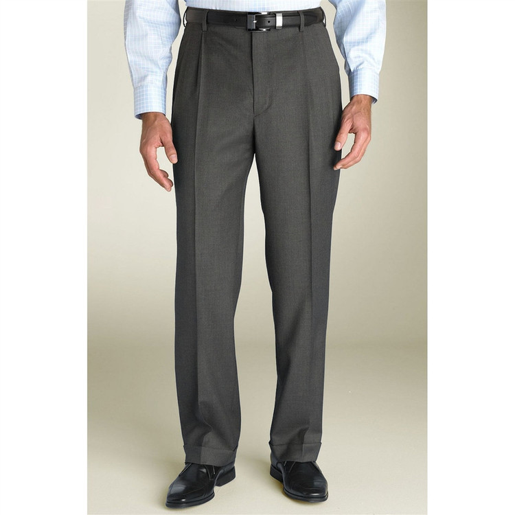 'Bennett' Double Reverse Pleat Super 120's Wool Serge Pant in Medium Grey (Size 34 Only) by Zanella