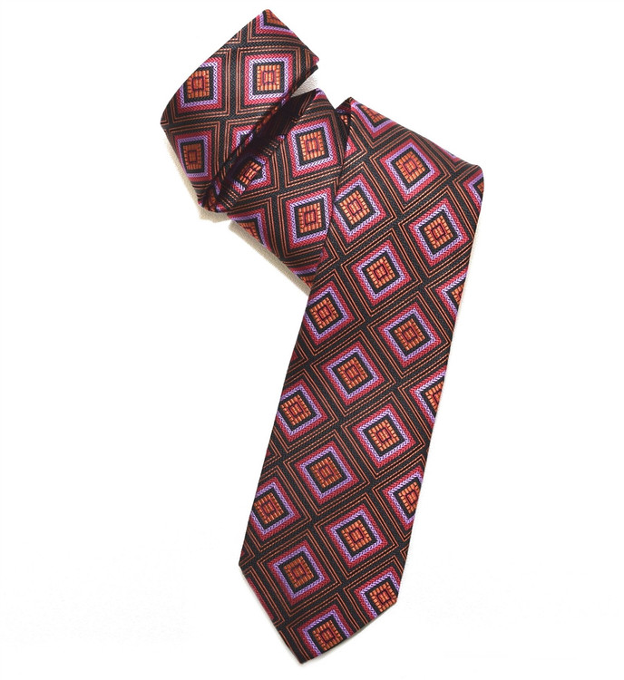 Black, Red, Lilac, and Orange Diamond Woven Silk Tie by Robert Jensen