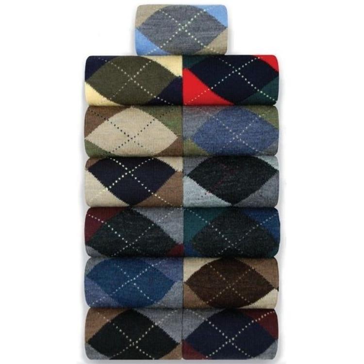 Merino Wool Argyle Socks in Mid-Calf by Byford