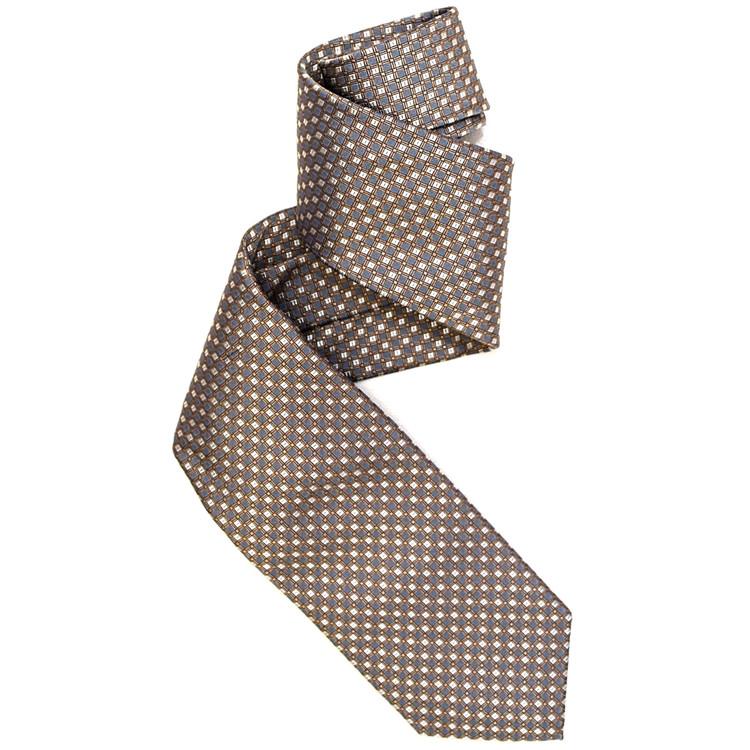 Best of Class Tan and Navy 'Archive' Woven Silk Tie by Robert Talbott