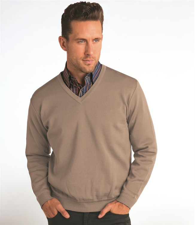 Techno-Cotton Milano Rib V-Neck in Brown Mist Sherice (Size Large) by St. Croix