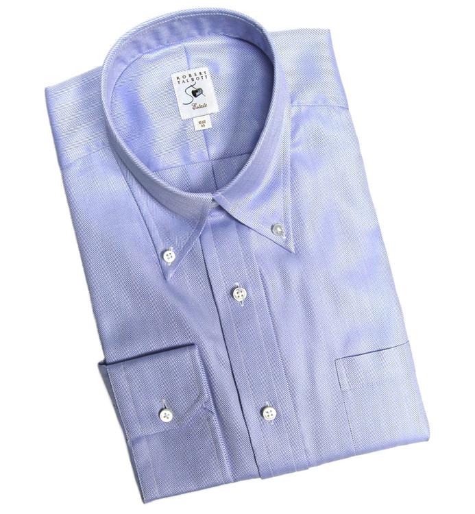 Blue-on-Blue Herringbone Estate Dress Shirt (Size 16 - 35) by Robert Talbott