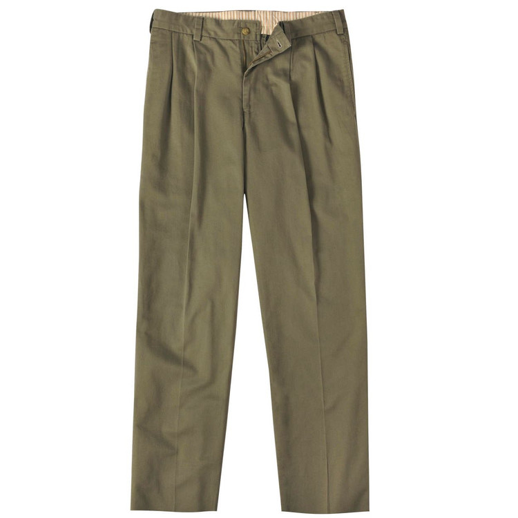 Vintage Twill Pant - Model M2P Standard Fit Reverse Pleat in Olive by Bills Khakis
