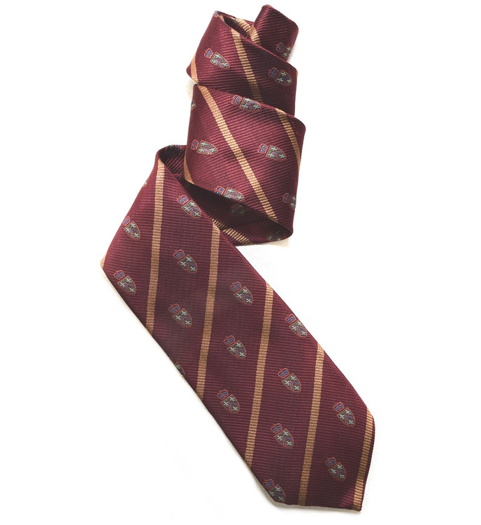 Maroon, Tan, and Green Silk Club Tie by Robert Jensen