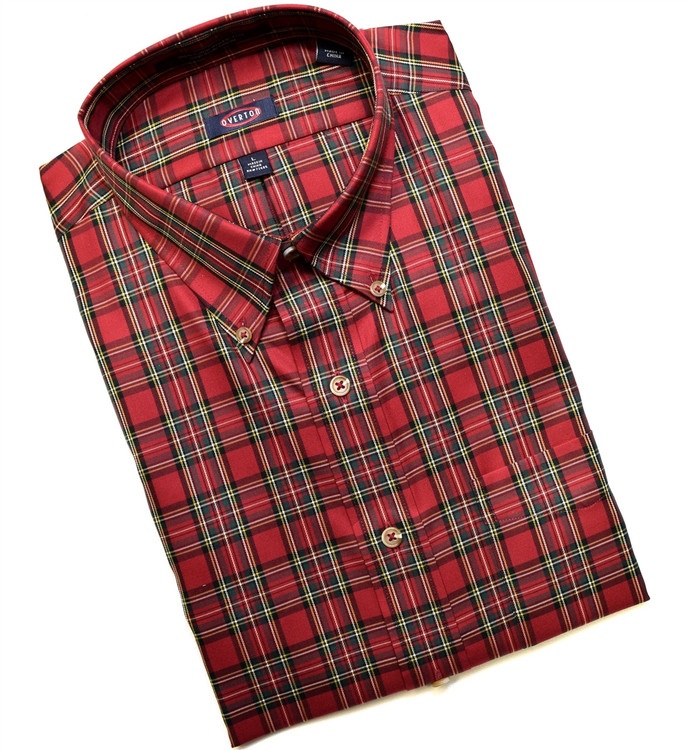 Red and Green Tartan Button-Down Wrinkle Free Sport Shirt (Size Large) by Overton