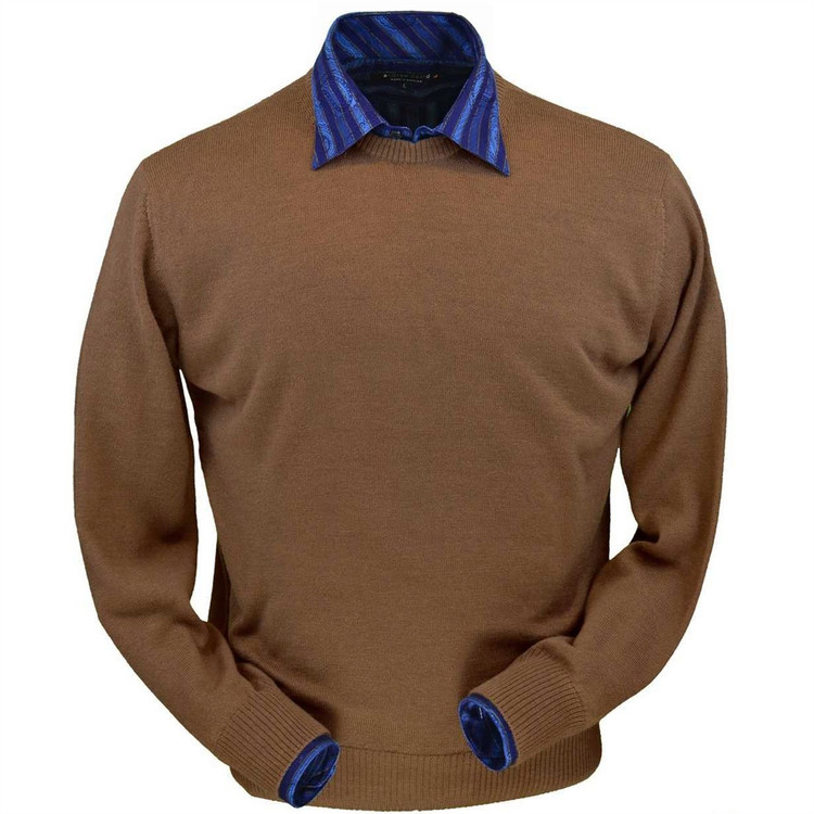 Royal Alpaca Jersey Crew Neck Sweater in Vicuna (Size XX-Large) by Peru Unlimited