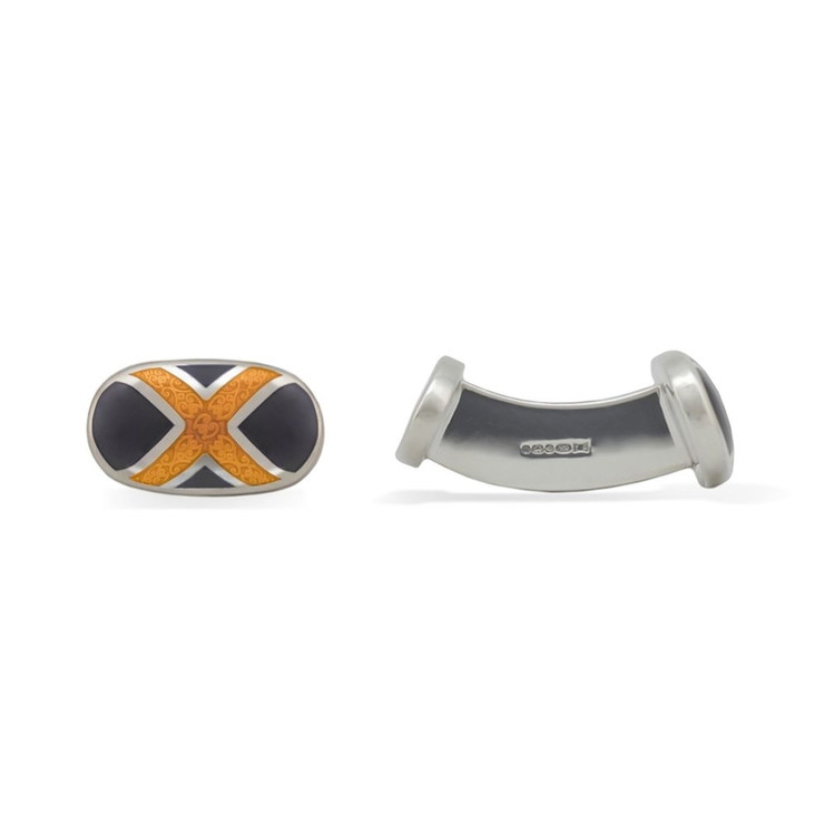 'Scottish Mark' Sterling Silver Cufflinks in Black and Goldenrod by Robert Talbott