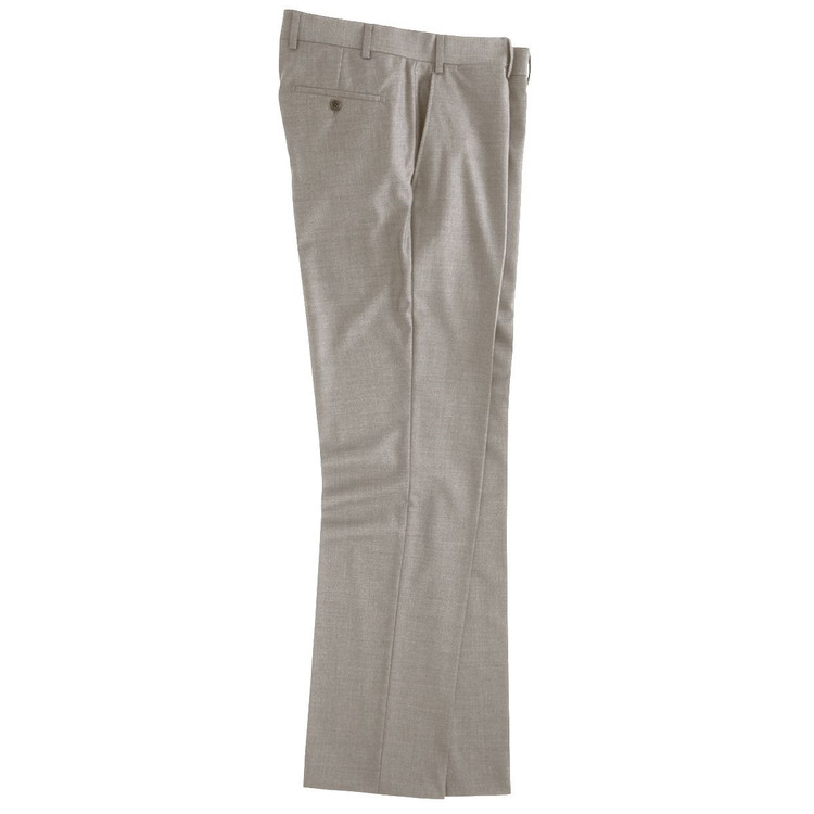 Super 110s Wool Flat Front Trouser in Beige (Size 36 Only) by Peter Millar