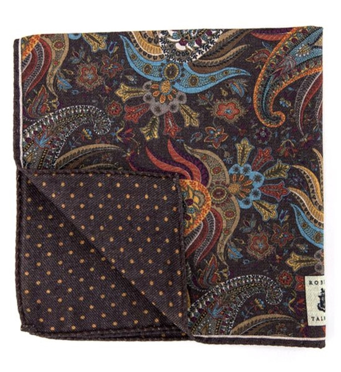 Double-Sided Wool Estate Pocket Square in Brown by Robert Talbott