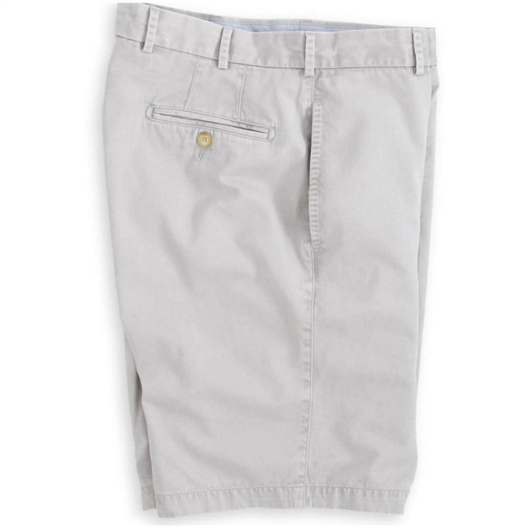 'Winston' Washed Twill Flat Front Short in Light Grey (Size 42 Only) by Peter Millar