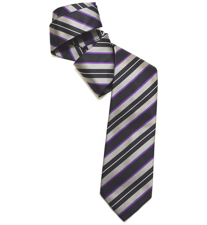 Black, Grey, and Purple Silk Faille Repp Tie by Robert Jensen