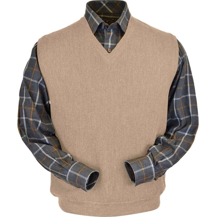 Baby Alpaca Link Stitch Sweater Vest in Oatmeal Heather by Peru Unlimited