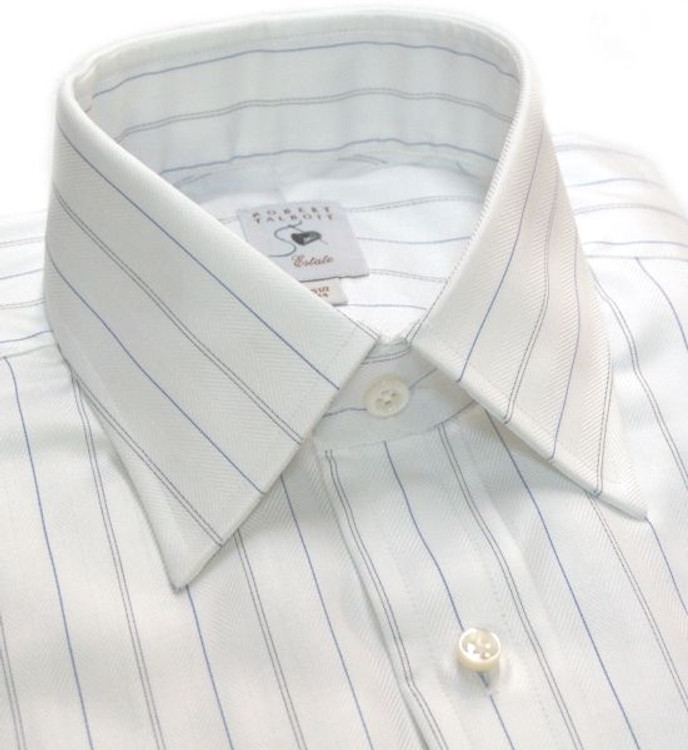 White Herringbone Stripe Estate Dress Shirt by Robert Talbott