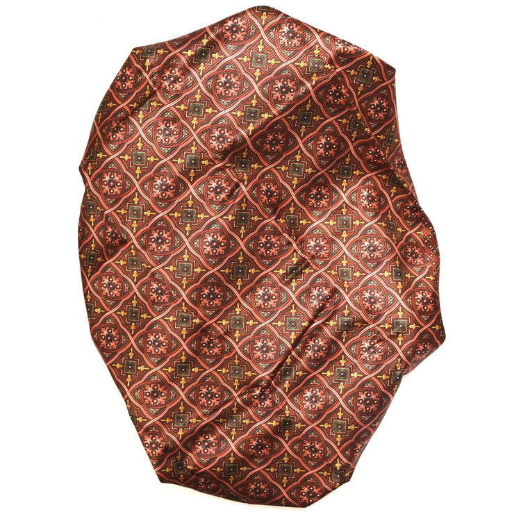 Custom Made Brick, Gold, and Green Medallion Printed Silk Faille Seven Fold Tie by Robert Talbott