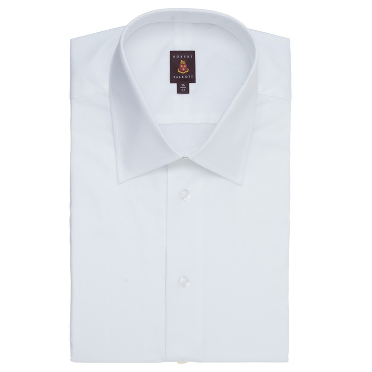 White Pinpoint 'Made in Monterey' Dress Shirt with French Cuff by Robert Talbott