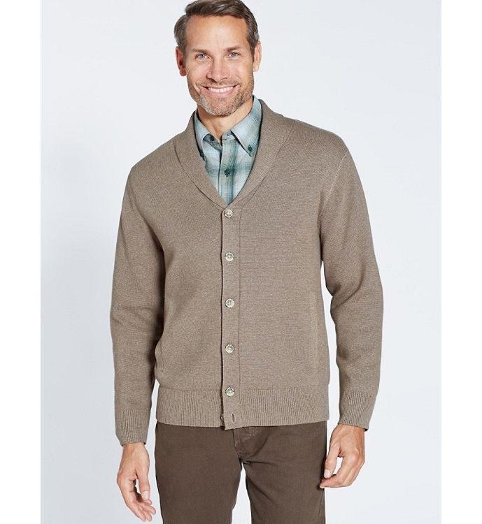 Shawl Collar Knit Cardigan Jacket in Tan Mix by Pendleton