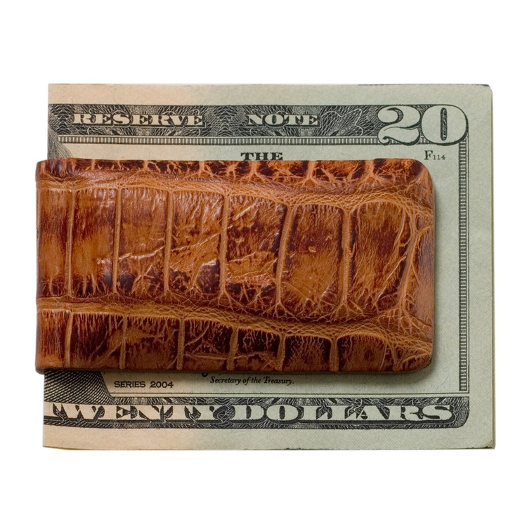 Magnetic Money Clip in Tan Alligator by Moore & Giles