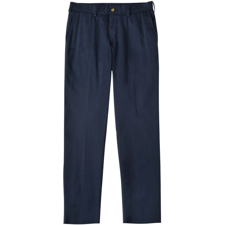 Chamois Cloth Pant - Model M3 Trim Fit Plain Front in Navy by Bills Khakis
