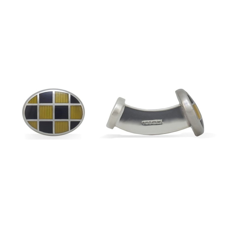 'Oval Grid' Sterling Silver Cufflinks in Navy and Gold by Robert Talbott