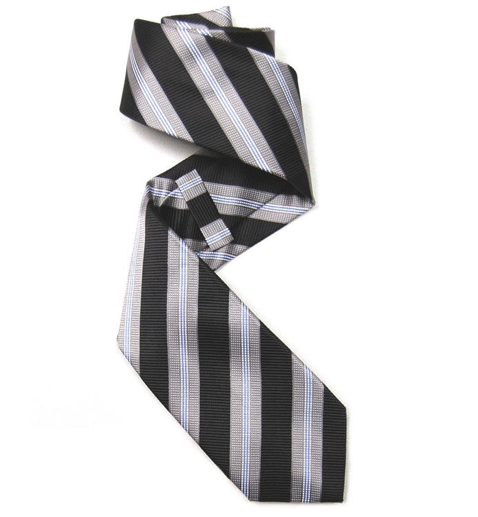 Black, Grey, and Blue Stripe Woven Silk Tie by Robert Jensen