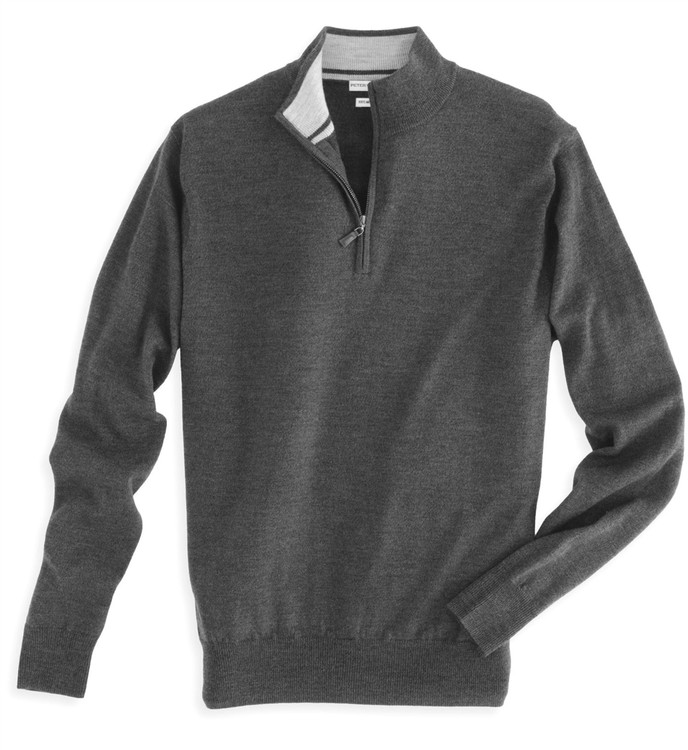 Merino Wool Quarter-Zip Sweater in Charcoal (Size XX-Large) by Peter Millar