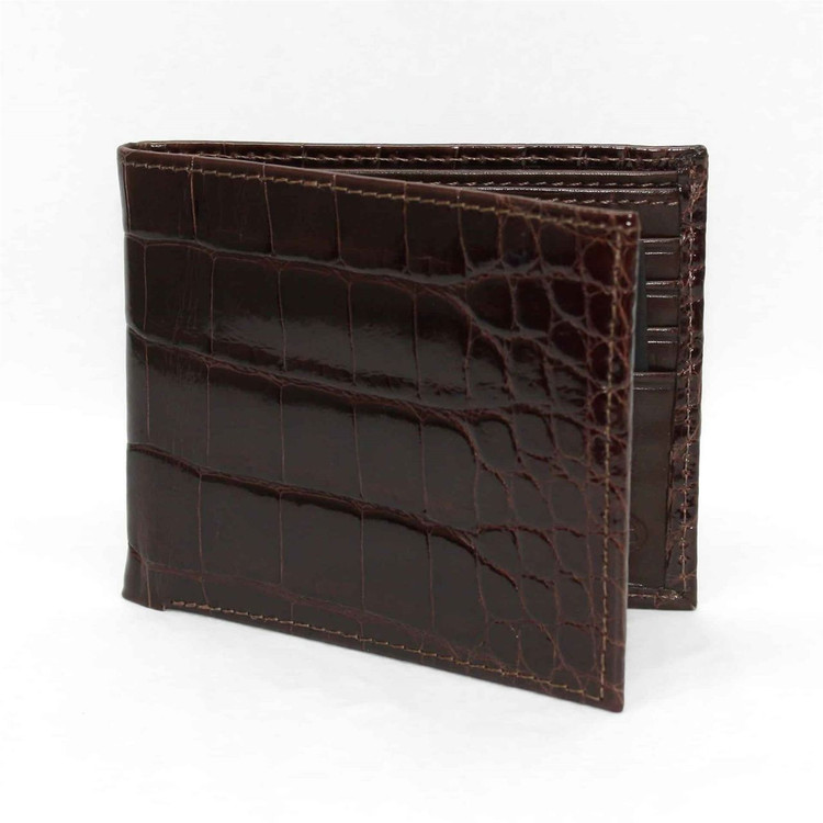 Genuine Alligator Billfold Wallet in Brown by Torino Leather Co.